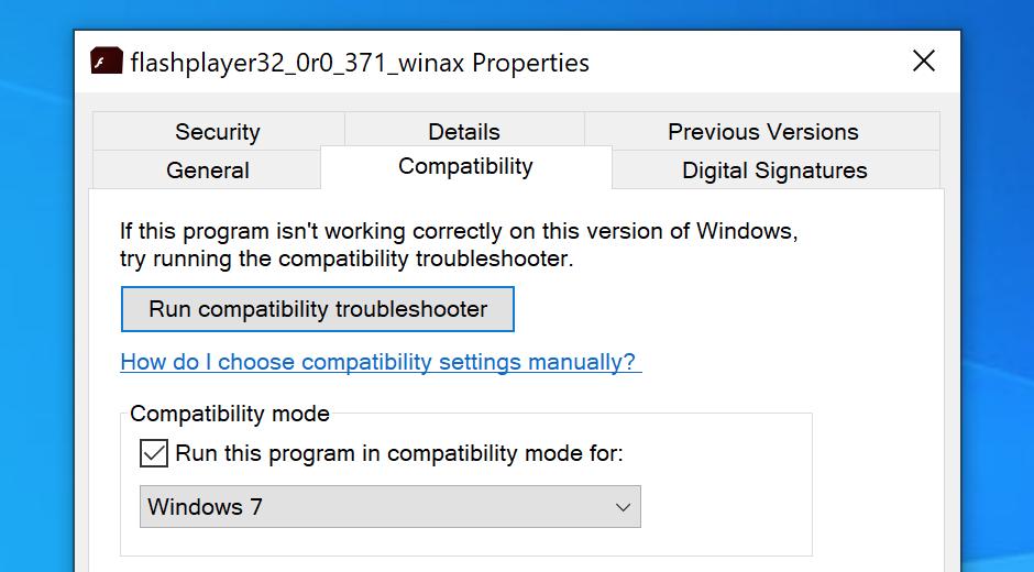 Okno dialogowe zgodności instalatora Flash