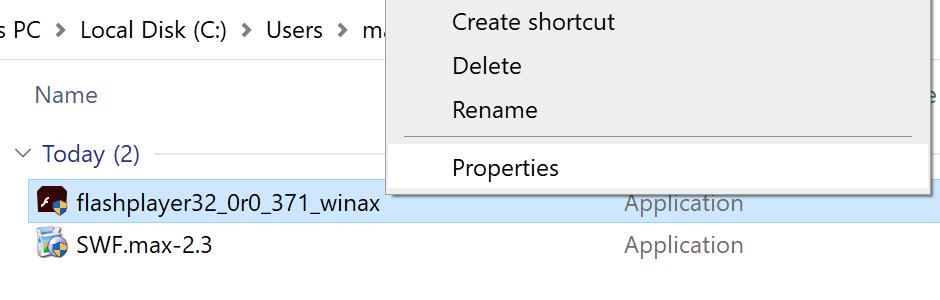 Element menu Właściwości pliku instalatora Flash