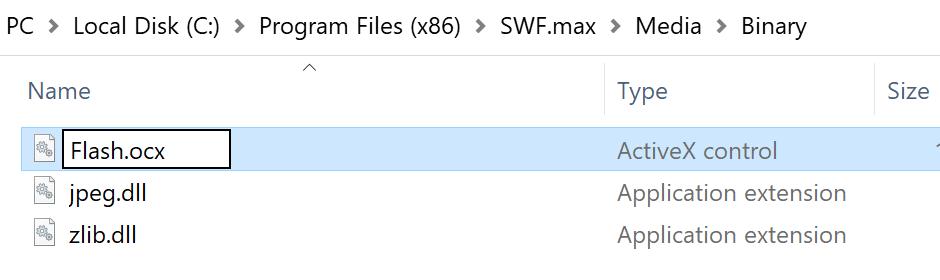 Zmieniono nazwę pliku Flash ActiveX
