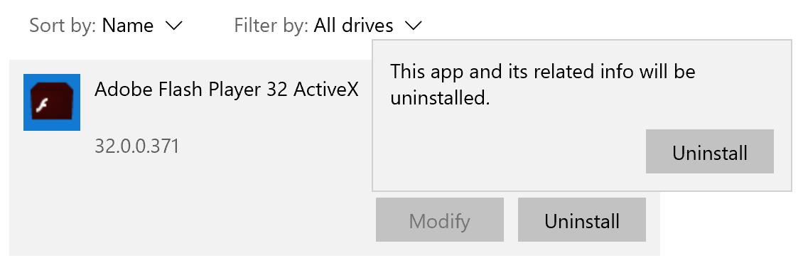 Odinstaluj Adobe Flash Player